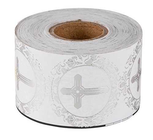 Religious Stickers - 500-Piece Christian Sticker Roll, Cross Design Round Labels with Silver Foil Finish, Round Labels Ideal for Christening, Communion, Christian Occassions, 1.5 inches in Diameter
