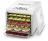 Gourmia GFD1650 Premium Countertop Food Dehydrator, With 6 Drying Shelves, Digital Thermostat, 8 Preset Temperature Settings, Airflow Circulation, Countdown Timer Free Recipe Book Included - White