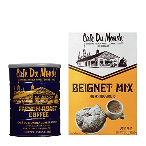 Cafe Du Monde Coffee Bundle: French Roast Dark Coffee, 13 Oz and Beignet French Doughnut Mix, 28 Oz Box