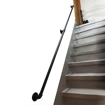 Pasamanos Soporte De Escalera Exterior Cubierta Escaleras - Escaleras Barandilla Pasamanos for Ancianos Discapacitados Niños Negro Metal Forjado de Hierro Exterior Fuera de Montaje En Pared (35-300cm): Amazon.es: Bricolaje y herramientas