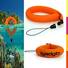 iGadgitz 1 Pack Neon Orange Waterproof Floating Wrist Strap suitable for use with Fujifilm FinePix XP Series Tough XP10, XP20, XP30, XP50, XP51, XP60, XP80, XP90, XP150, XP170, XP200 Cameras