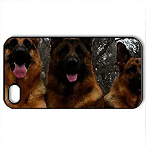 3 German shepherd - Case Cover for iPhone 6 plus 5.5 (Dogs Series, Watercolor style, Black)