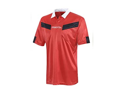 ATELIER DEL RICAMO Camiseta árbitro fútbol Manga Corta Macron Referee, Hombre, Rosso/Nero