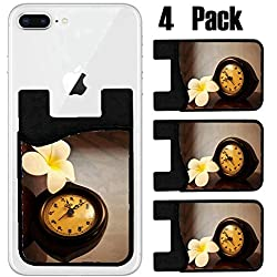 MSD Phone Card holder, sleeve/wallet for iPhone Samsung Android and all smartphones with removable microfiber screen cleaner Silicone card Caddy(4 Pack) Vintage wooden Thai desk clock on a table with
