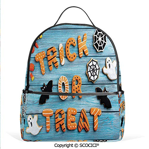 Lightweight Chic Bookbag Trick or Treat Cookie Wooden Table Bat Web Halloween,Blue Amber Multicolor,Satchel Travel Bag Daypack]()