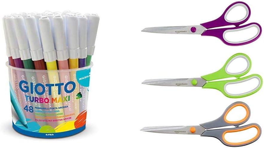 bianco 500 fogli 1 risma Giotto Turbo Color pennarelli in astuccio da 12 colori /& Basics Carta da stampa multiuso A4 80gsm