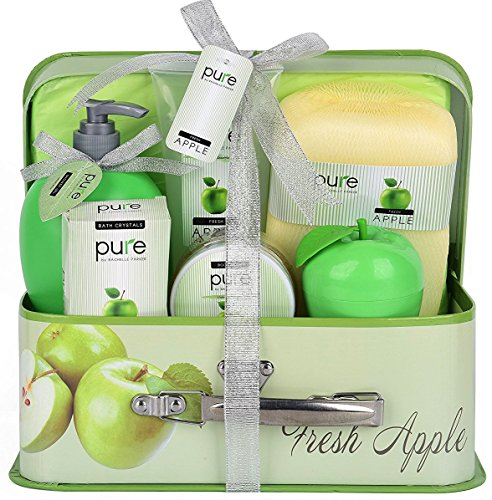 Essence of Luxury Spa Gift Basket Bath Set! PURE Spa Basket Natural Skin Care Gift Set Makes Best Christmas Gift for Women & Holiday Gift Baskets! (Fresh Apple Complete Home Spa Basket)