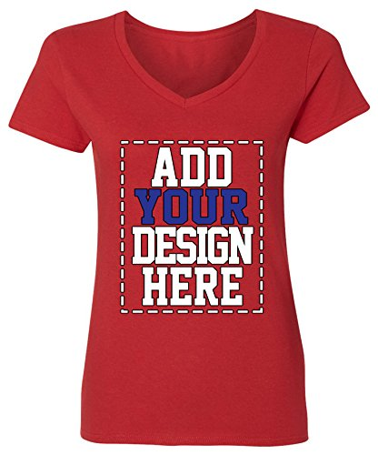 Custom V Neck T shirts for Women - MAKE YOUR OWN SHIRT - Add Your Design Picture Photo Text - Custom Own Your