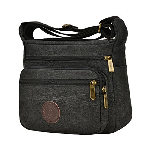Shoulder Messenger Black Body Zippers Fabuxry Cross Bag Multi Bags Canvas Bags Casual WPPgzE