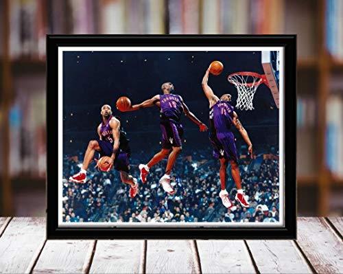 Vince Carter Autograph Replica Print - Dunk Time Lapse - Toronto Raptors - 5x7 Desktop Framed Print - Landscape ()