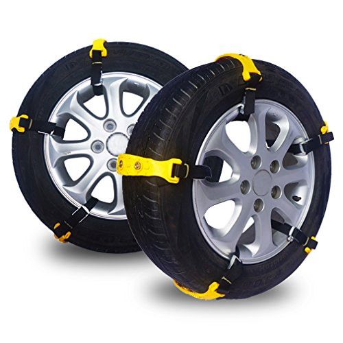 Anti Snow Chains of Car, Set of 6 Anti- Skid Chain Adjustable SUV Chain Tire Emergency Thickening with Gloves and Snow Shovel,Anti Slip Tire Chains of Car,Fit for Most Car/SUV/Truck