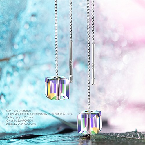 LADY COLOUR Threader Earrings 925 Sterling Silver Drop Earrings Birthday Gifts Women Girls A Little Romance Swarovski Crystals Jewelry Her Wife Birthday Gifts Mom Her by LADY COLOUR (Image #2)