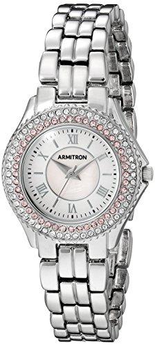 Armitron Women's 75/5332PMSV Pink Swarovski Crystal Accented Silver-Tone Bracelet Watch