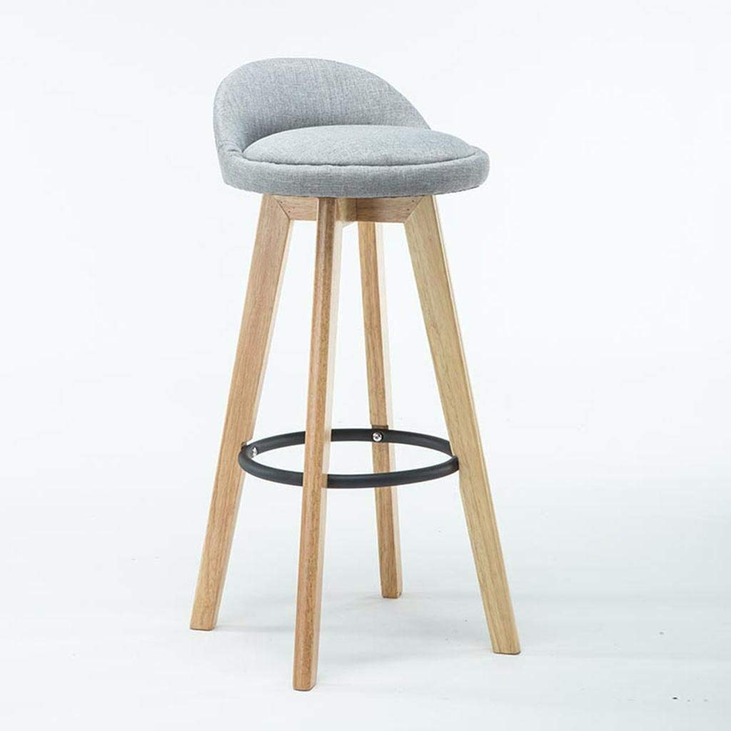 K Bar Stool, Retro Kitchen Stools with Solid Wood High Stools PU & Linen Leather Seat Kitchen Counter Bar Chair,360 Degrees Swivel Iron Foot Design, Breakfast Bar Chair,D