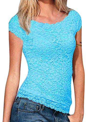 dentelle dbardeur tops Legou courtes Bleu manches shirts femme t pour pour Himmel Blau femme motif SqaHwdx