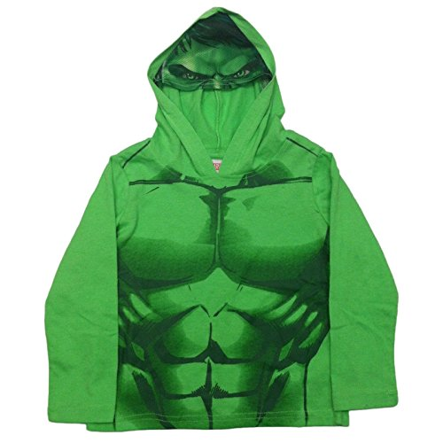 DC Marvel Comic Hoodie Boys Batman Hulk Ironman Superman with Mesh Mask (2T, Hulk)