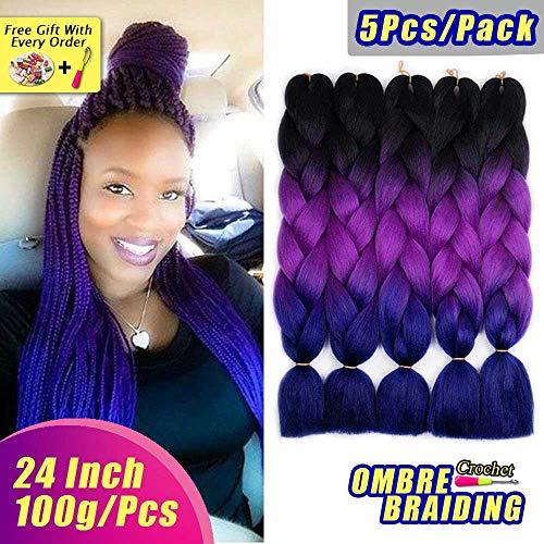 AIDUSA Ombre Colors Braiding Hair Ombre 5pcs Synthetic Braids Hair Extensions 24 Inch 3 Tone Ombre Braiding Hair Kanekalon Yaki Crochet Braids 100g (#49 Black to Purple)