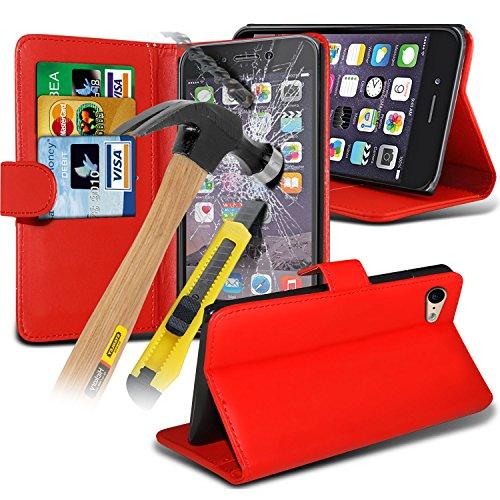 Spyrox ( Red ) Apple iPhone 6S Plus Case Stylish Fitted Book PU-Leder-Mappen-Schlag mit Kredit- / Bankkarte Slot Hülle Tasche mit gehärtetem Glas Crystal Clear LCD Display-Schutzfolien, Reinigungstuch