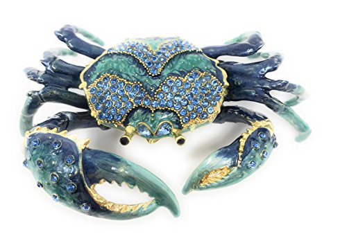 Kubla Craft Enameled Blue Crab Trinket Box, Accented with Austrian Crystals