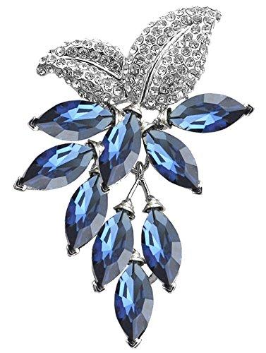 Fruit Brooch Pin (Gyn&Joy Womens Blue Crystal Rhinestones Grapes Fruit Brooch Pin in Gold Tone BZ043)