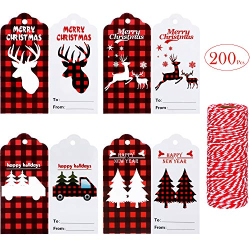 200 Pieces Christmas Buffalo Plaid Gift Tags Craft Paper Tags Hang Labels with 164 Feet Red and White Twines for Package Name Card Christmas Holiday Gift Wrap Party Favors, 4 Styles