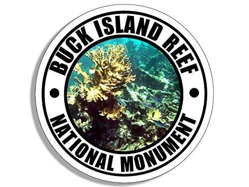 MAGNET 4x4 inch Round Buck Island Reef National Monument Sticker (Travel rv) Magnetic vinyl bumper sticker sticks to any metal fridge, car, signs