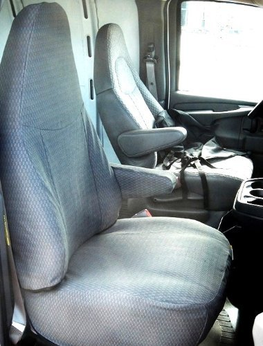 Durafit Seat Covers, 1996-2009 Chevy Express and GMC Savanna Front Captain Chairs with Molded Headrests and One armrest per Seat. in Gray Endura 1997 Chevy Express 2500 Van