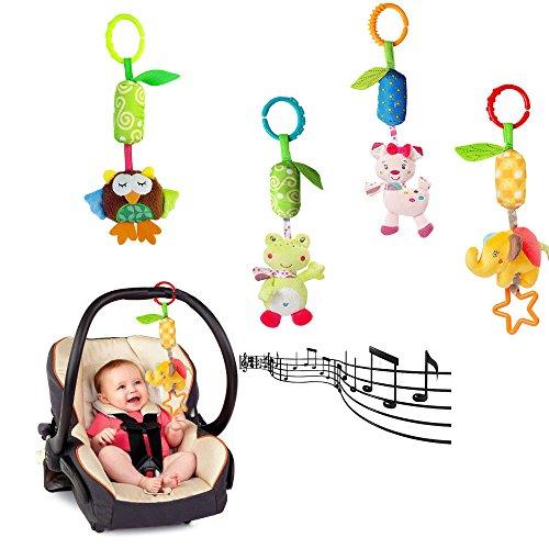Newborn Ty Rattle (FJUN Infant Baby Rattle Toys, Kids Stroller Hanging Bell, Newborn Baby Car Crib Stroller Handbells Toys Cute Wind Chime and Squeak (4 Pack))