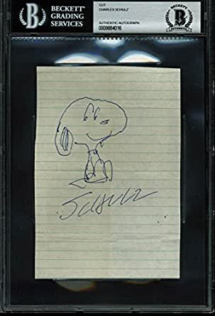 Charles Schulz Signed 4x6 Cut Signature w/ Snoopy Sketch BAS Slabbed