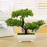 New Fashion Plastic Artificial Tree Plants Ceramics Bonsai Tree Pot Culture For Office Home Living Room Furnishings Decorative (Green)