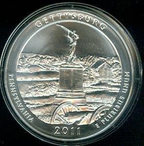 2011 Gettysburg National Park 5 oz Silver ATB Coin