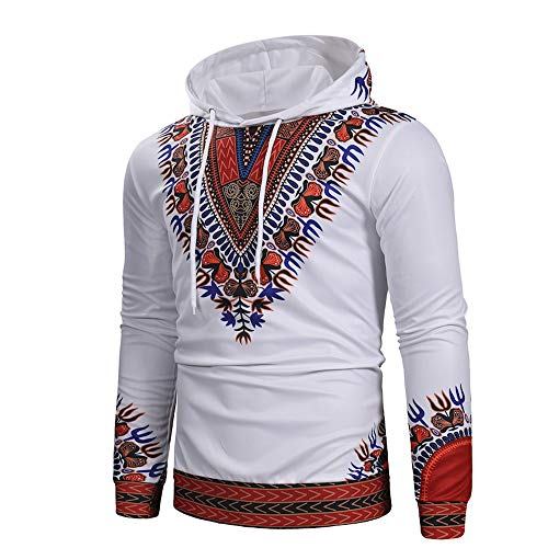 POHOK Clearance!Mens Long Sleeve Hooded African Printed Pullover