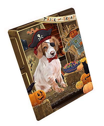 (Doggie of the Day Enter at Own Risk Trick or Treat Halloween Brittany Spaniel Dog Blanket BLNKT94755 (60x80 Fleece) )