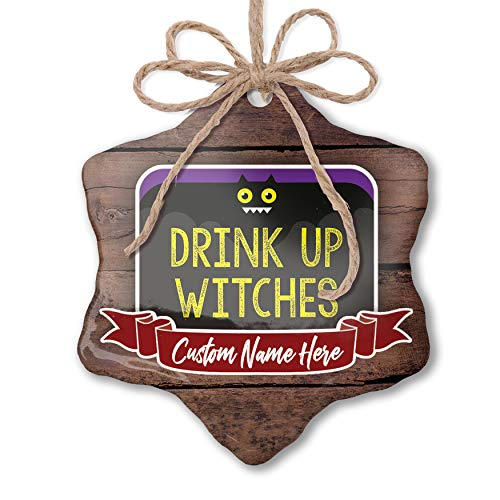 NEONBLOND Custom Family Ornament Drink Up Witches Halloween Funny Bat Personalized Name]()