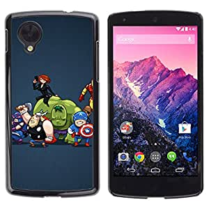 LG Google NEXUS 5 / E980 /D820 / D821 , Radio-Star - Cáscara Funda Case Caso De Plástico (Funny - Superhero Team)