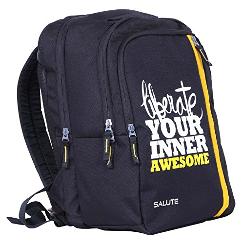 Salute 32 litros de poliéster portátil Casual College School viaje mochila bolsa Negro y amarillo