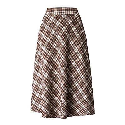Winter Women Thick Khaki Woolen Plaid High Waist Big Hem Elegant Long Skirt