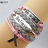 Braceus Infinity Hope Faith Breast Cancer Awareness Sign Charm Multi Layers Bracelet size Bc117