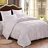 HOMFY Premium Cotton Comforter Twin,Quilted Comforter with Corner Tabs, Soft and Breathable (White, Twin)