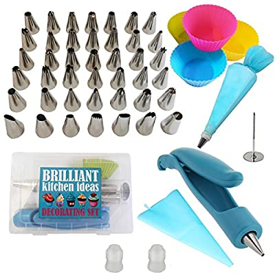Cake Decorating Supplies Tips 52 pcs Set: 42 Stainless Steel Tips, 1 Decorating Pen, 2 Silicone Piping Bags, 1 Flower Nail, 2 Couplers, 4 Cupcake Liners. Cupcake Decorating Set