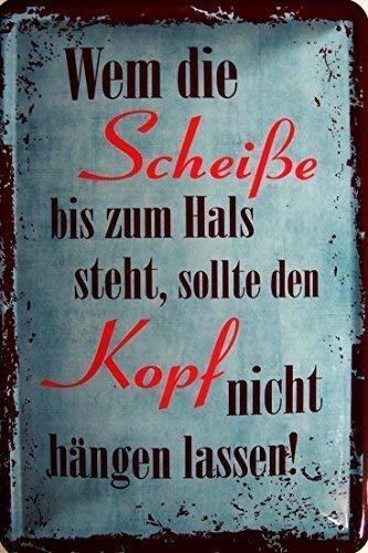 HPNES Kopf Hängen Lassen ! Blechschild Schild Blech Metall Metal Tin Sign 20 x 30 cm (Kopf Metall)