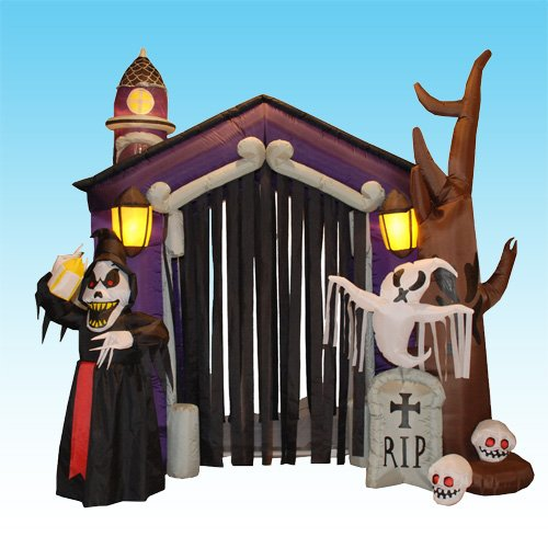 8.5 Foot Halloween Inflatable Haunted House Castle with Skeleton, Ghost & Skulls (Cute Halloween Yard Decoration Ideas)