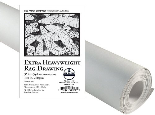 Bee Paper Extra 816R-0536 Heavyweight Rag Drawing Roll, 36-Inch by 5-Yards