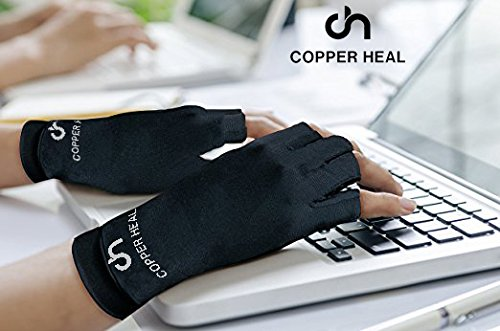 COPPER HEAL Arthritis Compression Gloves - Best Medical Copper Glove Guaranteed to Work for Rheumatoid Arthritis, Carpal Tunnel, RSI Osteoarthritis & Tendonitis Open in Fingers Fingerless Fit Size S by COPPER HEAL (Image #5)