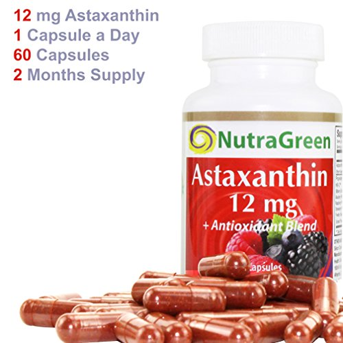NutraGreen Astaxanthin 12mg Plus 300 mg Berry Vegetable Extract Super Antioxidant Supplements for Skin Joint Eye Heart Health Support 1 Capsule Daily2 Months Discount