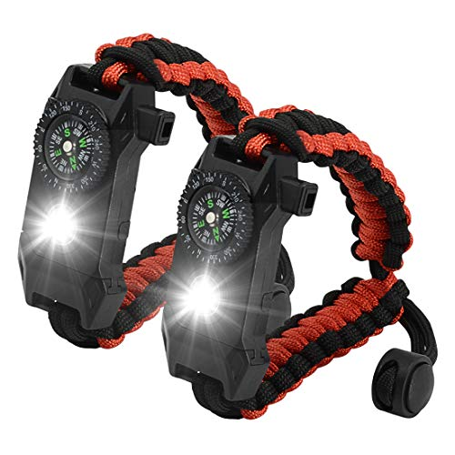 NEW-Vi Adjustable Paracord Survival Bracelet, Tactical Emergency Gear Kit Includes SOS LED Flashlight,70% Larger Compass Loud Whistle and Fire Starter-Outdoor Hiking
