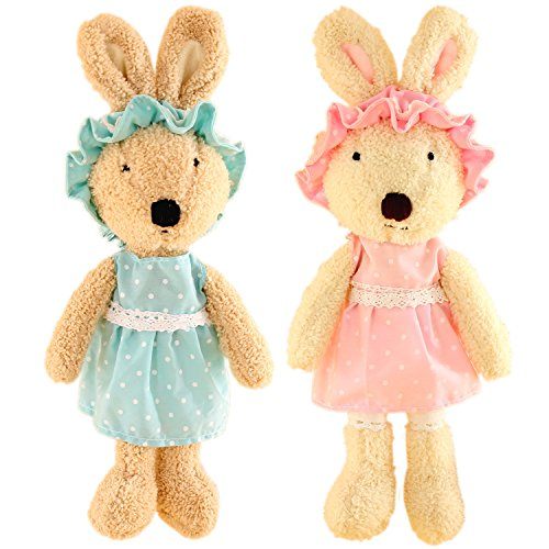 Removable Bunny - JIARU Stuffed Animals Toys Easter Bunny Rabbits Plush with Removable Clothes Pack of 2 (Style 4)