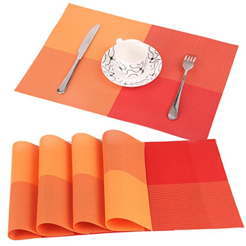 Famibay PVC Place Mats - Heat Insulation PVC Placemats Stain-resistant Woven Vinyl Table Mats for Kitchen Set of 4 - 30x45 cm (Orange) (Kitchen Table Accessories)
