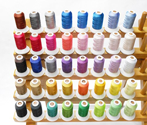 Simthread 40 Spools Polyester Embroidery Thread Vibrant Colors for Singer Brother Babylock Janome Pfaff Husqvarna Bernina Machines