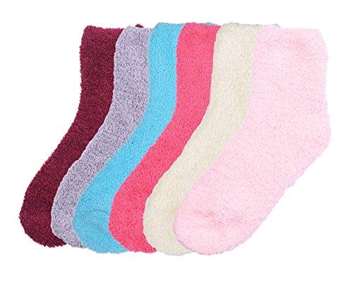 6 Pairs of Super Soft Non-Skid or No Non-Skid Fuzzy Slipper Socks (One Size, D-Plain (No non-skid))